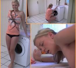 Vom perversen Nachbar in der Waschküche erwischt !!!