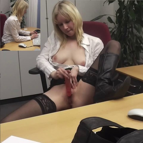 Sekretärin braucht Orgasmus-Pause! Dildofick im Büro!