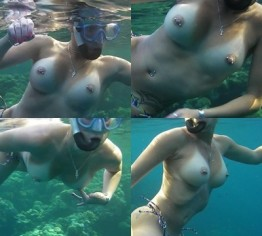 Sexy Engels blanke Titten unter Wasser
