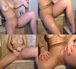Feinstrumphosenfetisch unter der Dusche