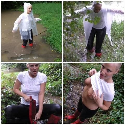 Hilflos, nass und geil in roten Gummistiefeln