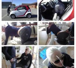 Autopanne: Facial auf Blondine in Jeans Leggings