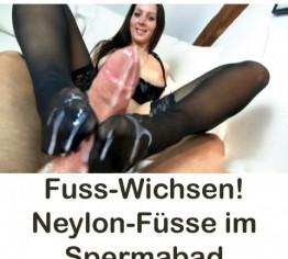 Fuß-Wichsen,Neylon-Fuß im Sperma-Bad