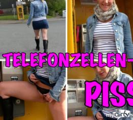 Dreister public PISS in die Telefonzelle