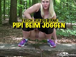 PIPI beim joggen - Frech auf die Bank GEPISST
