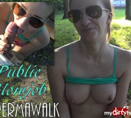Public Blowjob mit SPERMAWALK :-)