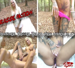 Krasse Aktion - Spontaner Doppel-Dildo Fick mitten im Wald